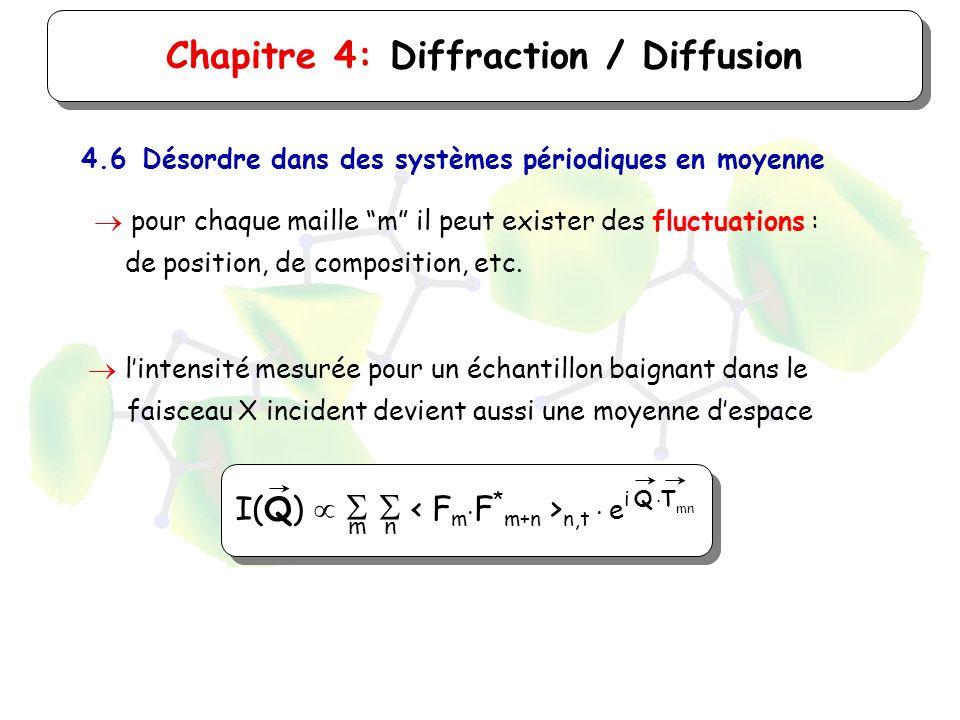 Chapitre 4: Diffraction / Diffusion 4.6Désordre dans des systèmes périodiques en moyenne pour chaque maille m il peut exister des fluctuations : de po