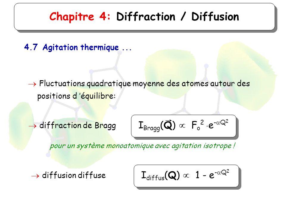 Chapitre 4: Diffraction / Diffusion 4.7Agitation thermique... Fluctuations quadratique moyenne des atomes autour des positions d équilibre: diffractio