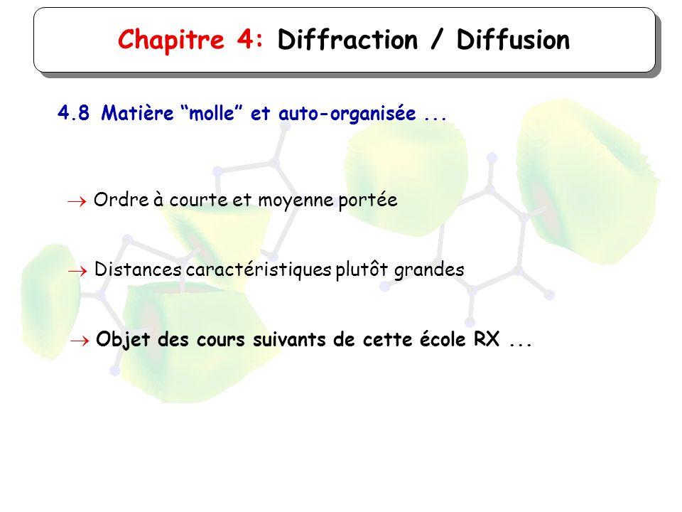 Chapitre 4: Diffraction / Diffusion 4.8Matière molle et auto-organisée... Ordre à courte et moyenne portée Distances caractéristiques plutôt grandes O