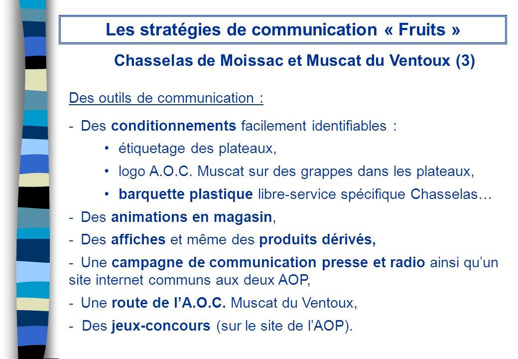 Chasselas de Moissac et Muscat du Ventoux (3) Des outils de communication : - Des conditionnements facilement identifiables : étiquetage des plateaux,