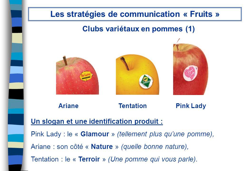 Ariane Tentation Pink Lady Un slogan et une identification produit : Pink Lady : le « Glamour » (tellement plus quune pomme), Ariane : son côté « Natu
