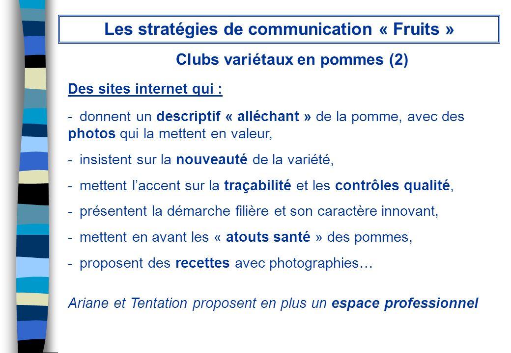 Clubs variétaux en pommes (2) Des sites internet qui : - donnent un descriptif « alléchant » de la pomme, avec des photos qui la mettent en valeur, -