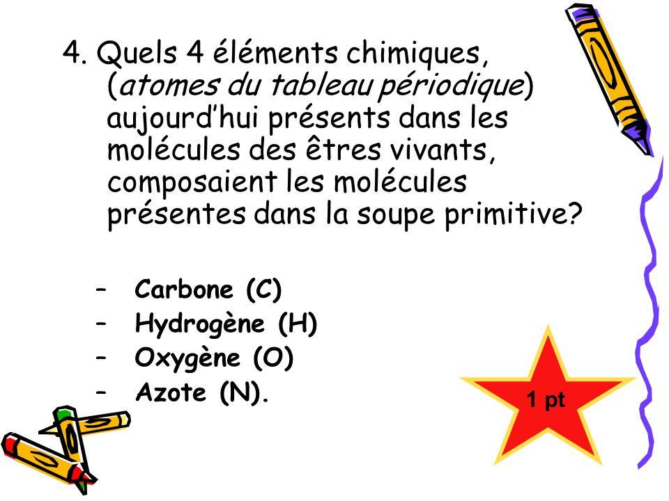 4. Quels 4 éléments chimiques, (atomes du tableau périodique) aujourdhui présents dans les molécules des êtres vivants, composaient les molécules prés