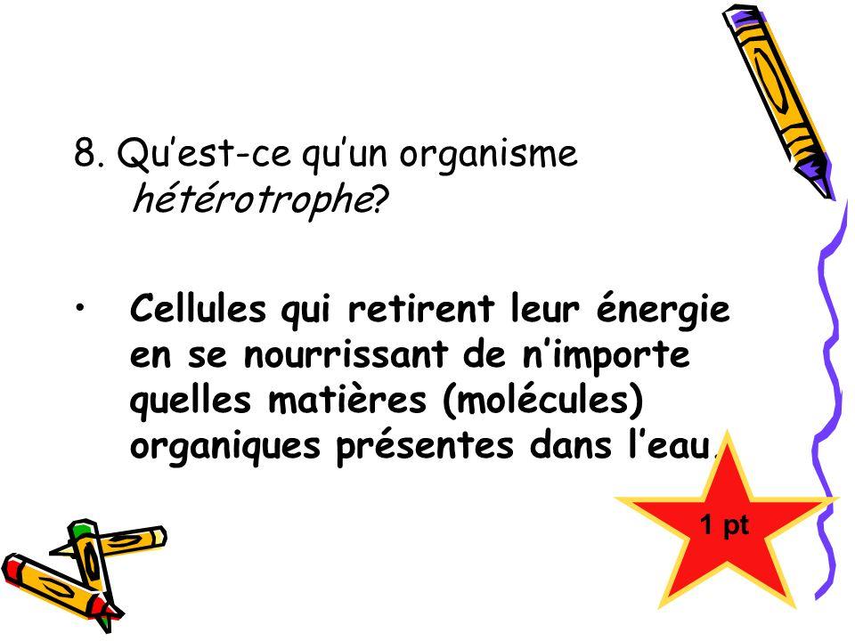 8. Quest-ce quun organisme hétérotrophe? Cellules qui retirent leur énergie en se nourrissant de nimporte quelles matières (molécules) organiques prés
