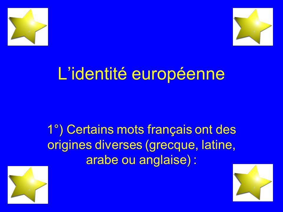 Lidentité européenne 1°) Certains mots français ont des origines diverses (grecque, latine, arabe ou anglaise) :