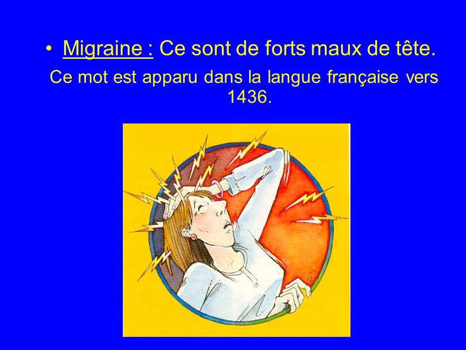 Migraine : Ce sont de forts maux de tête. Ce mot est apparu dans la langue française vers 1436.