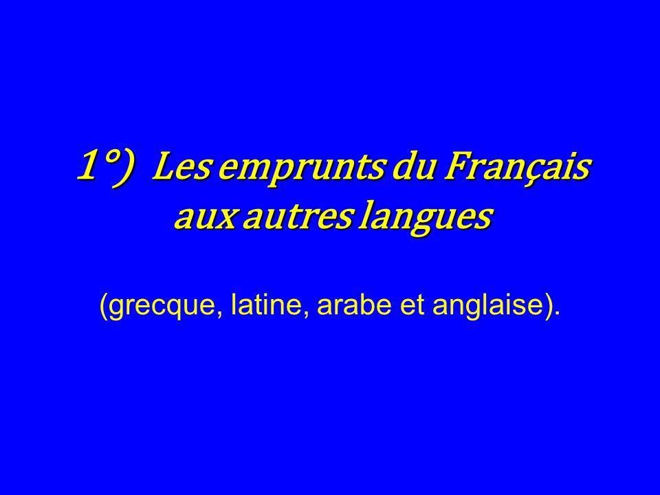 1°) Les emprunts du Français aux autres langues (grecque, latine, arabe et anglaise).