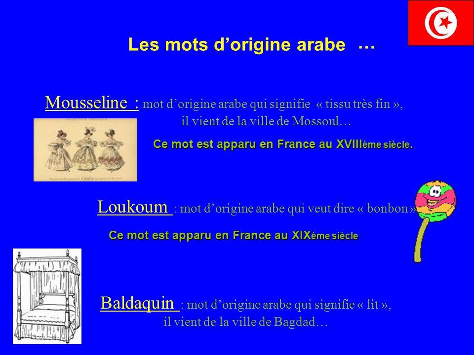 Les mots dorigine arabe Mousseline : mot dorigine arabe qui signifie « tissu très fin », il vient de la ville de Mossoul… Loukoum : mot dorigine arabe qui veut dire « bonbon ».
