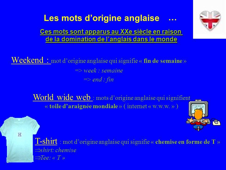 Les mots dorigine anglaise Weekend : mot dorigine anglaise qui signifie « fin de semaine » => week : semaine => end : fin World wide web : mots dorigine anglaise qui signifient « toile daraignée mondiale » ( internet « w.w.w.