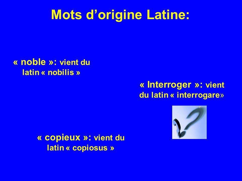 Mots dorigine Latine: « noble »: vient du latin « nobilis » « Interroger »: vient du latin « interrogare» « copieux »: vient du latin « copiosus »