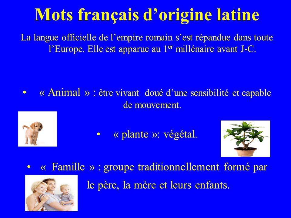 Mots français dorigine latine La langue officielle de lempire romain sest répandue dans toute lEurope.