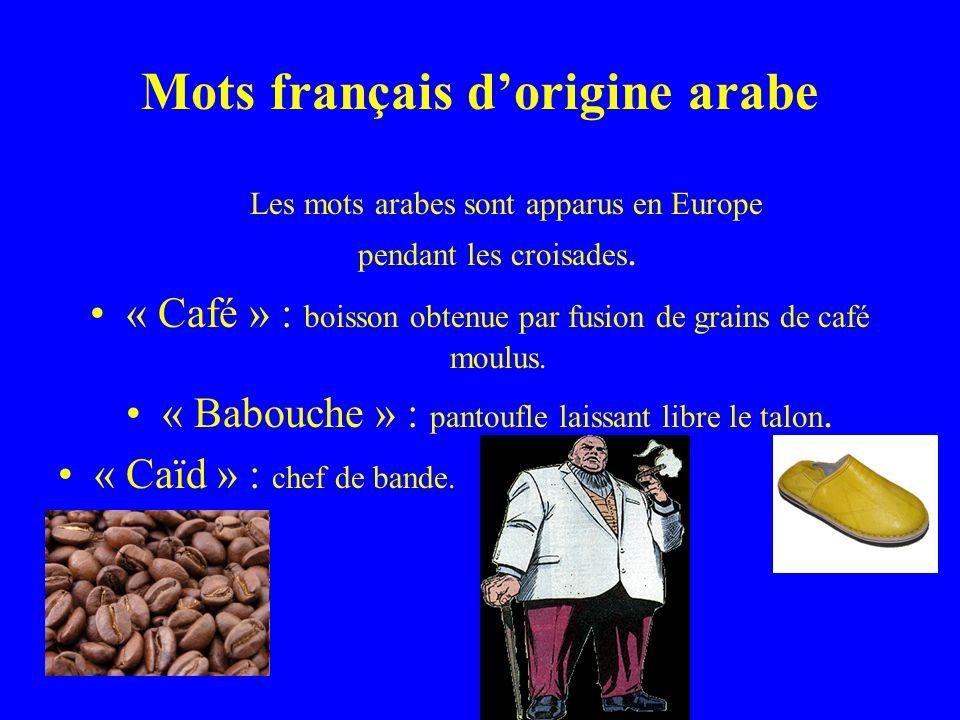 Mots français dorigine arabe Les mots arabes sont apparus en Europe pendant les croisades.