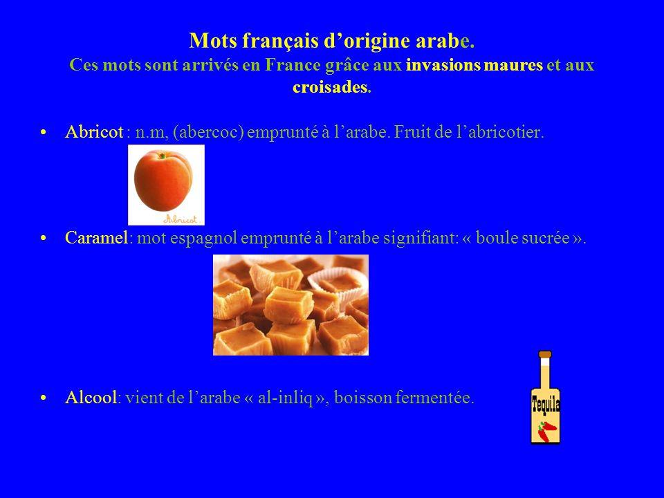 Mots français dorigine arabe.