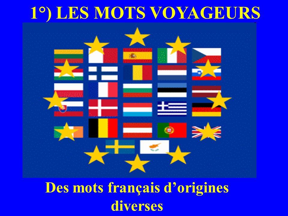 1°) LES MOTS VOYAGEURS Des mots français dorigines diverses