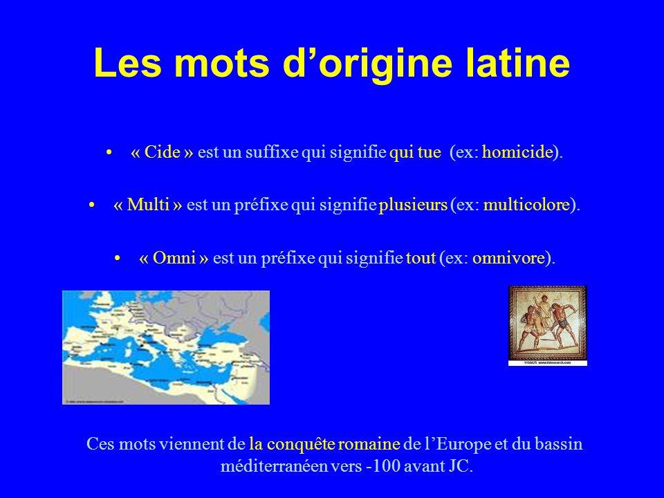 Les mots dorigine latine « Cide » est un suffixe qui signifie qui tue (ex: homicide).
