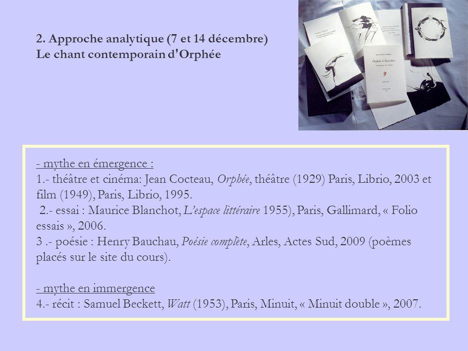 2. Approche analytique (7 et 14 décembre) Le chant contemporain d'Orphée - mythe en émergence : 1.- théâtre et cinéma: Jean Cocteau, Orphée, théâtre (