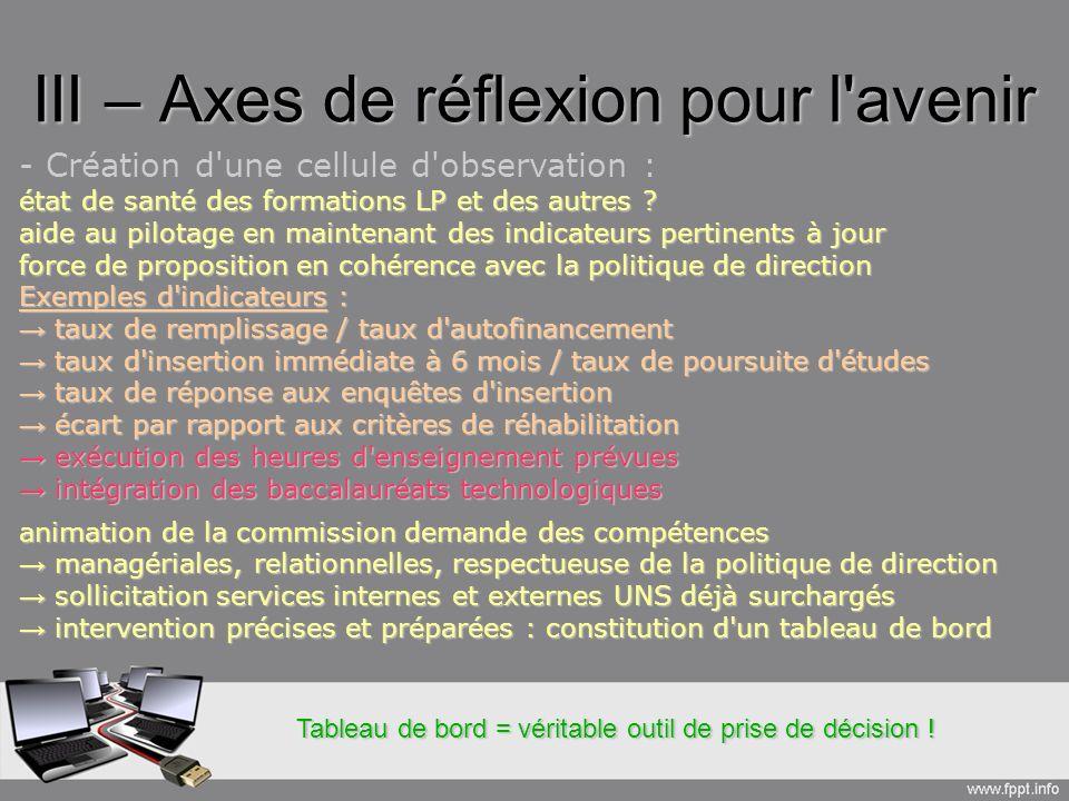 III – Axes de réflexion pour l avenir - Création d une cellule d observation : état de santé des formations LP et des autres .