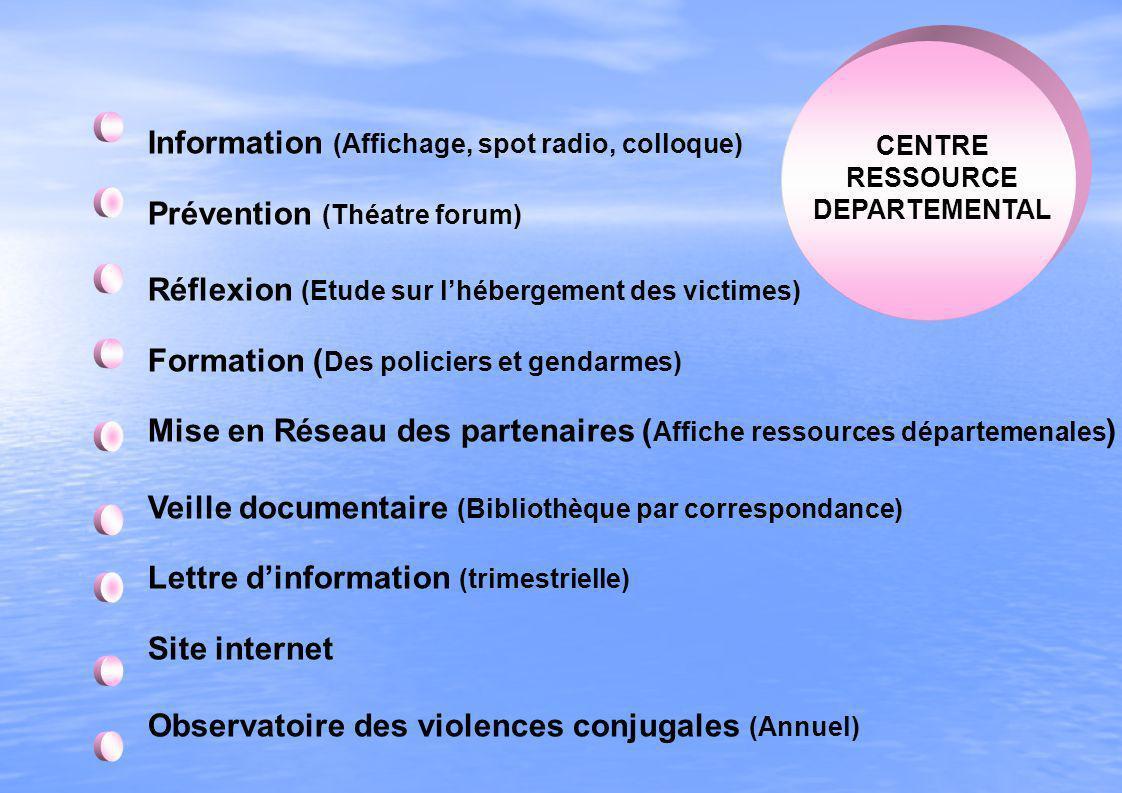 Information (Affichage, spot radio, colloque) Prévention (Théatre forum) Réflexion (Etude sur lhébergement des victimes) Formation ( Des policiers et
