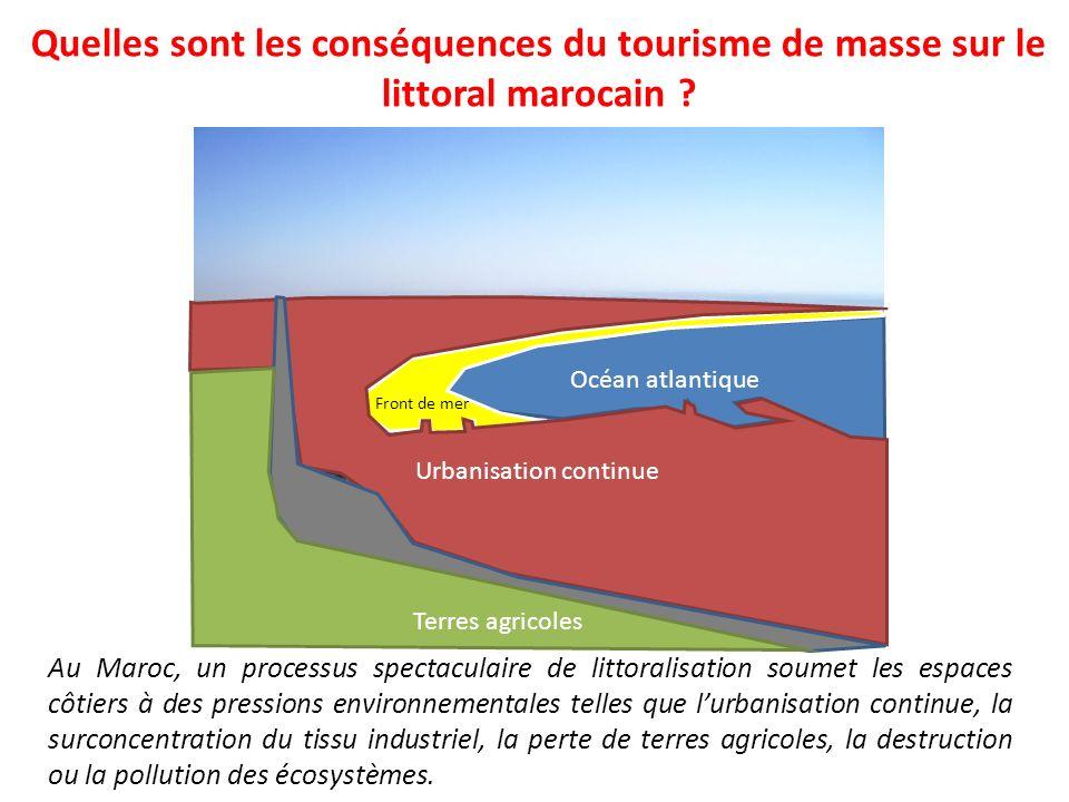 Quelles sont les conséquences du tourisme de masse sur le littoral marocain ? Au Maroc, un processus spectaculaire de littoralisation soumet les espac