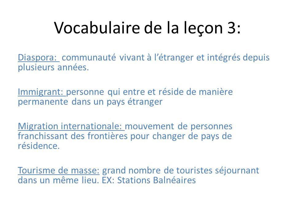 Vocabulaire de la leçon 3: Diaspora: communauté vivant à létranger et intégrés depuis plusieurs années. Immigrant: personne qui entre et réside de man