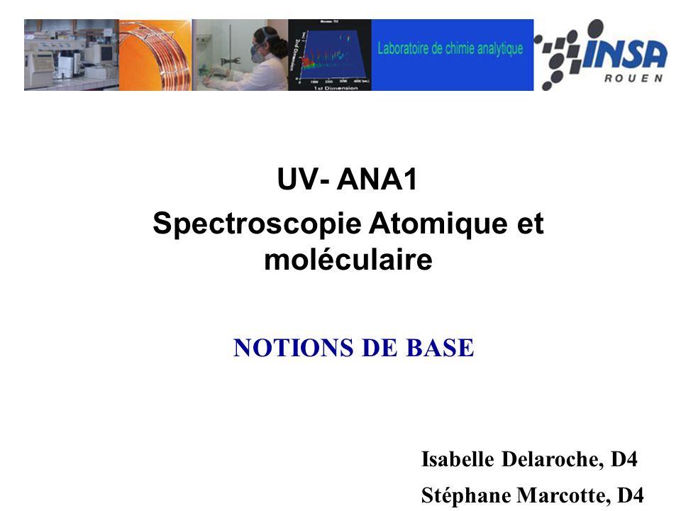 UV- ANA1 Spectroscopie Atomique et moléculaire Isabelle Delaroche, D4 Stéphane Marcotte, D4 NOTIONS DE BASE