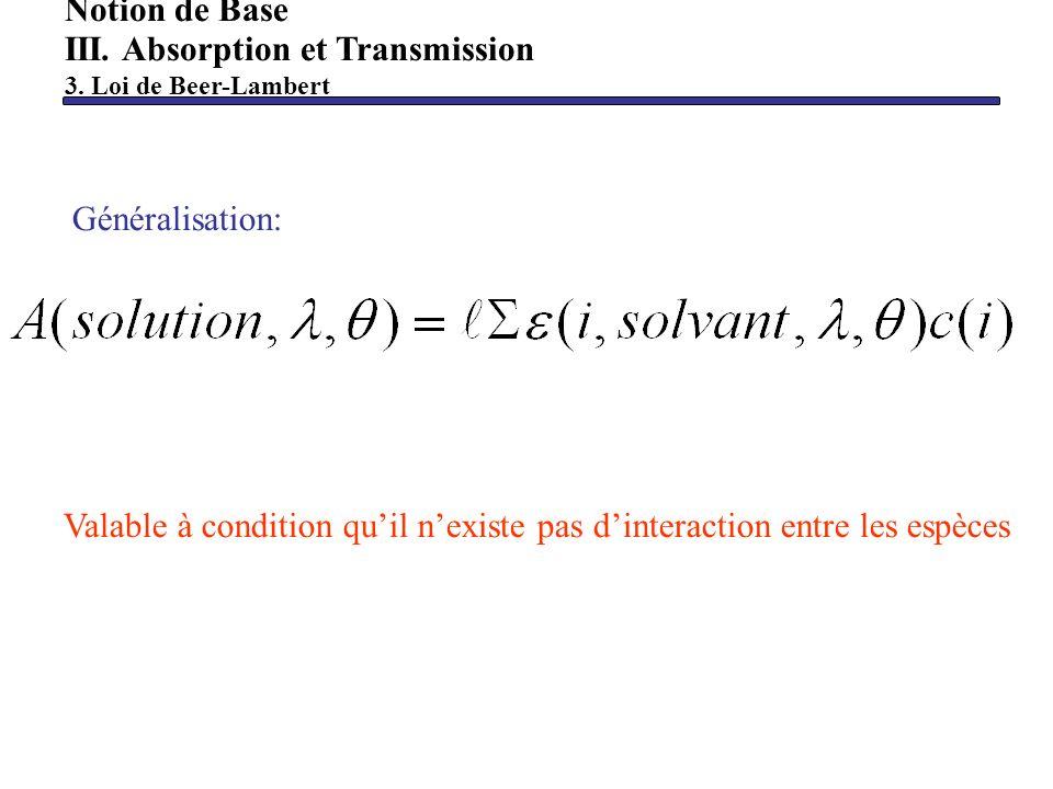 Notion de Base III. Absorption et Transmission 3. Loi de Beer-Lambert Généralisation: Valable à condition quil nexiste pas dinteraction entre les espè