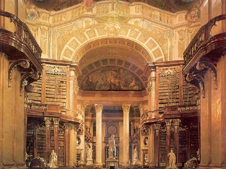 Riche de ses 7,4 millions de pièces dans ses collections, cette bibliothèque loge dans les palais Hofbourg et Mollard-Clary, tous deux situés à Vienne