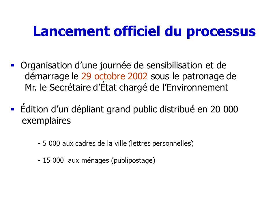 Lancement officiel du processus Organisation dune journée de sensibilisation et de démarrage le 29 octobre 2002 sous le patronage de Mr. le Secrétaire