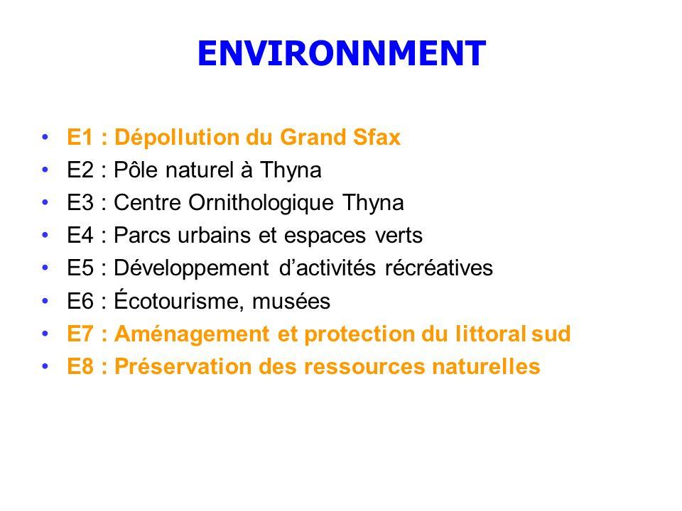 ENVIRONNMENT E1 : Dépollution du Grand Sfax E2 : Pôle naturel à Thyna E3 : Centre Ornithologique Thyna E4 : Parcs urbains et espaces verts E5 : Dévelo