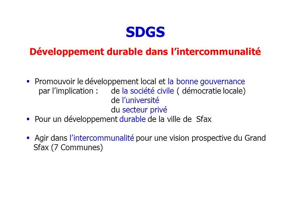 SDGS Développement durable dans lintercommunalité Promouvoir le développement local et la bonne gouvernance par limplication :de la société civile ( d