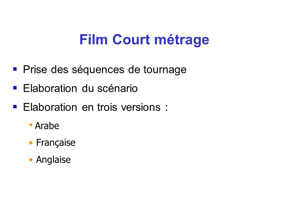 Film Court métrage Prise des séquences de tournage Elaboration du scénario Elaboration en trois versions : Arabe Française Anglaise