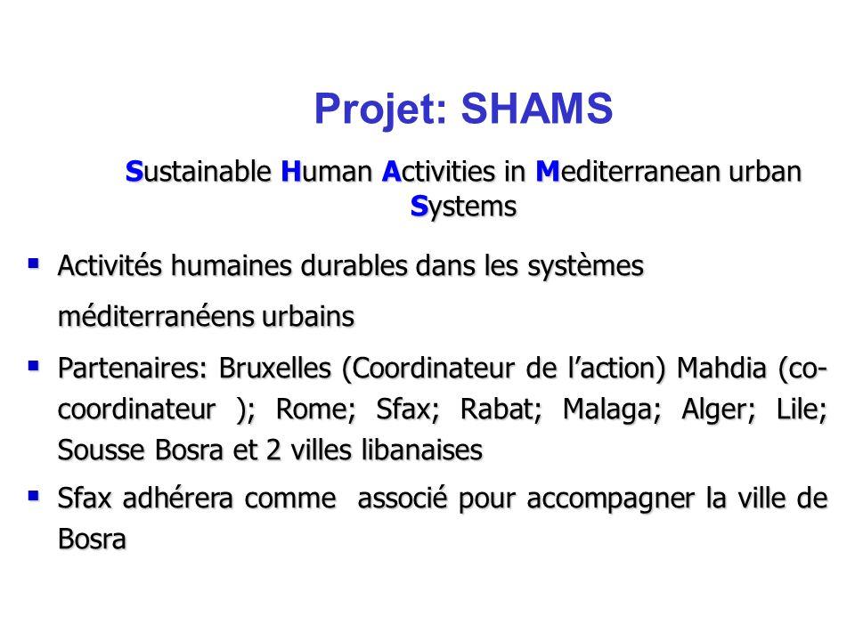 Activités humaines durables dans les systèmes méditerranéens urbains Activités humaines durables dans les systèmes méditerranéens urbains Partenaires: