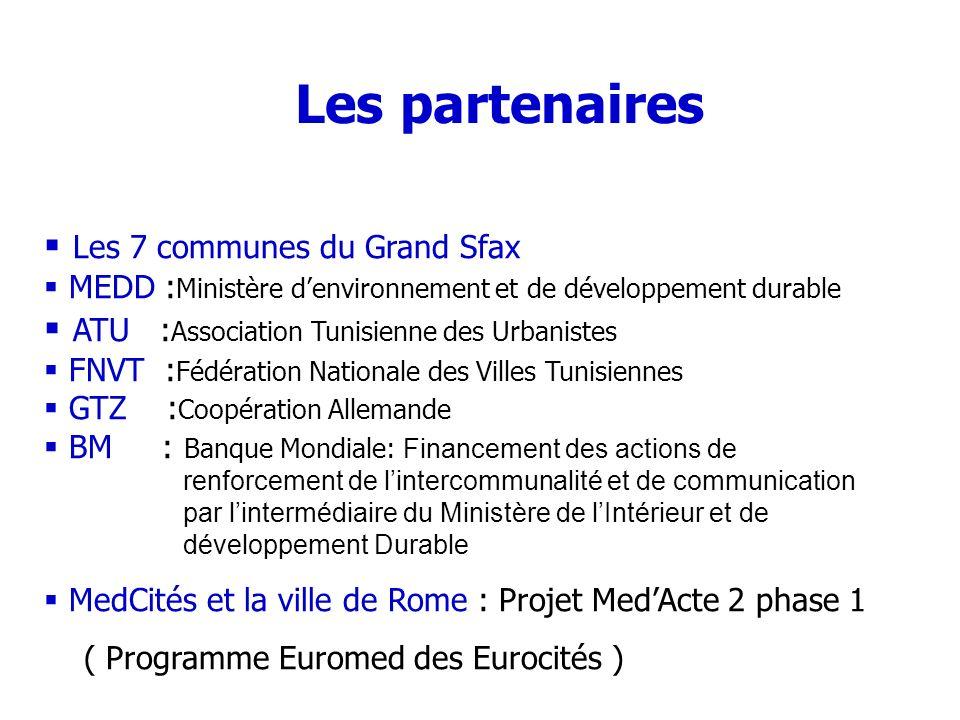 Les partenaires Les 7 communes du Grand Sfax MEDD : Ministère denvironnement et de développement durable ATU : Association Tunisienne des Urbanistes F