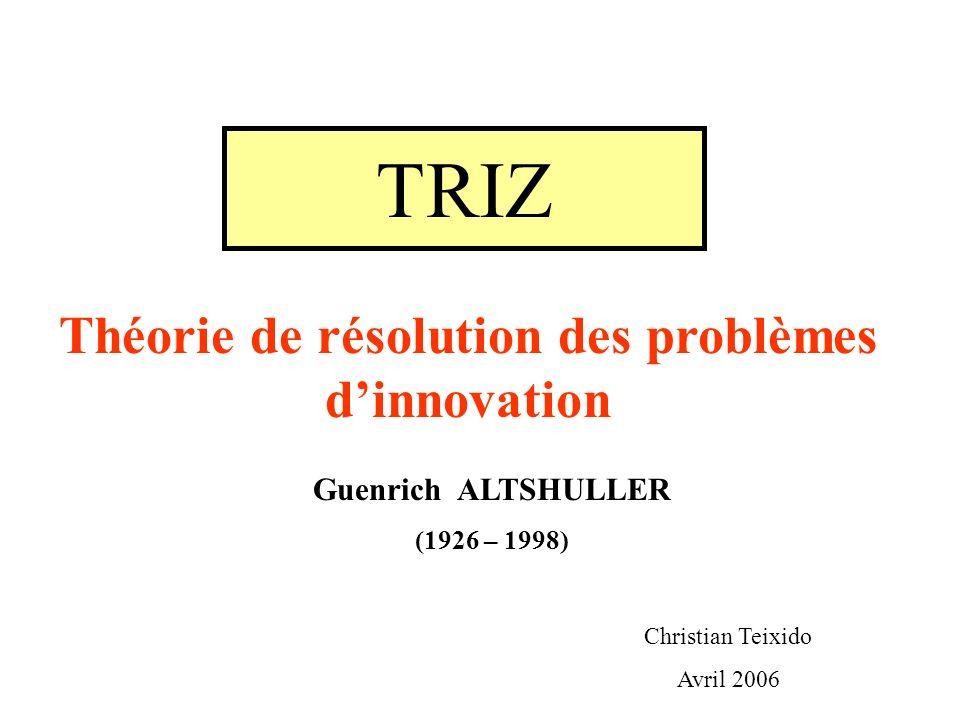 TRIZ Théorie de résolution des problèmes dinnovation Guenrich ALTSHULLER (1926 – 1998) Christian Teixido Avril 2006