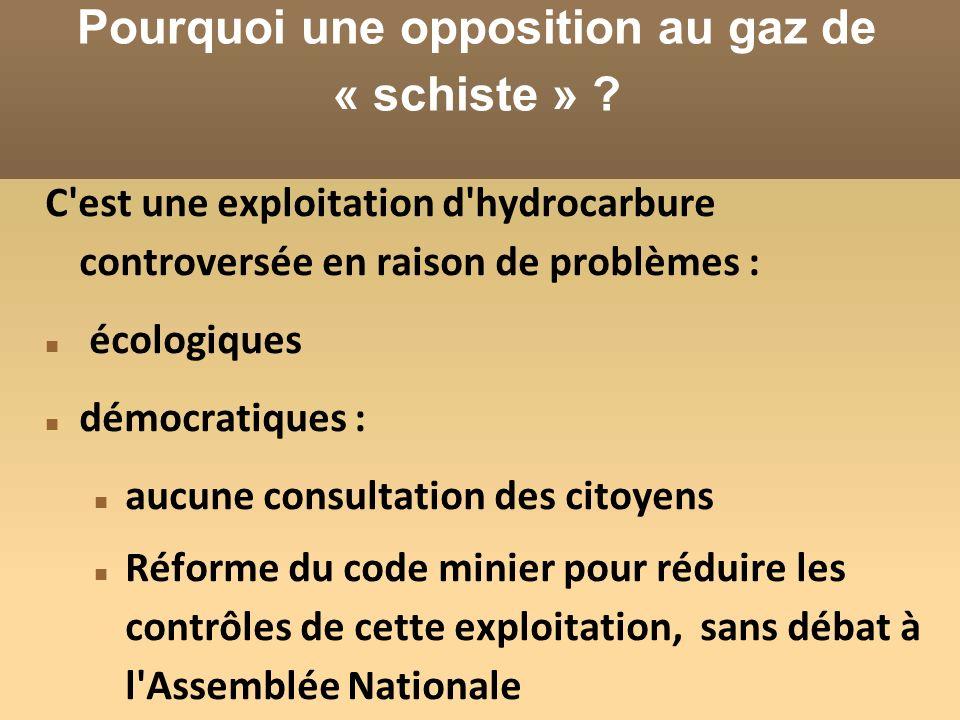 Pourquoi une opposition au gaz de « schiste » .