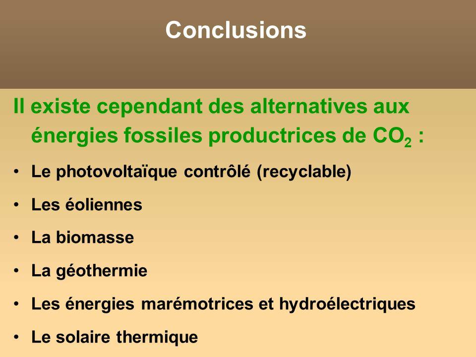 Conclusions Il existe cependant des alternatives aux énergies fossiles productrices de CO 2 : Le photovoltaïque contrôlé (recyclable) Les éoliennes La biomasse La géothermie Les énergies marémotrices et hydroélectriques Le solaire thermique