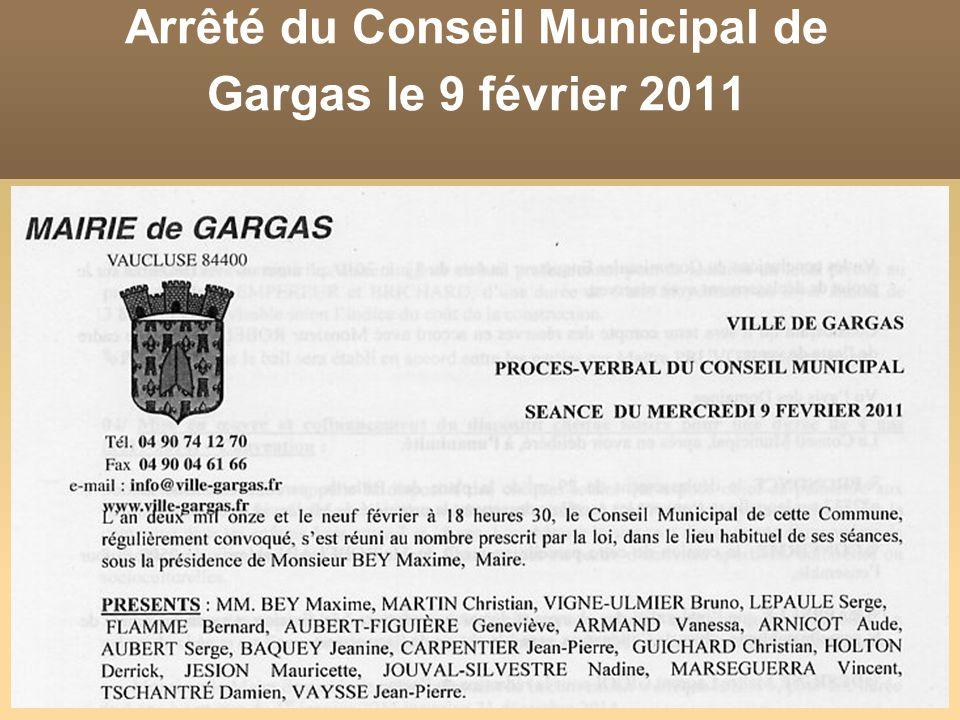 Arrêté du Conseil Municipal de Gargas le 9 février 2011