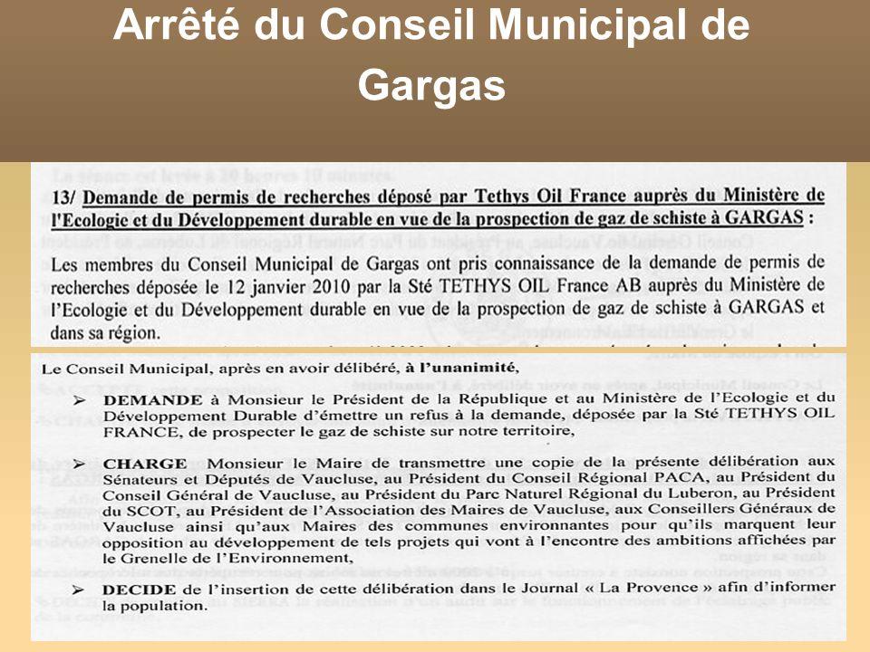 Arrêté du Conseil Municipal de Gargas
