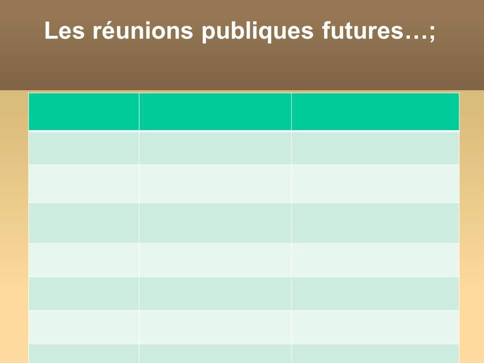 Les réunions publiques futures…;
