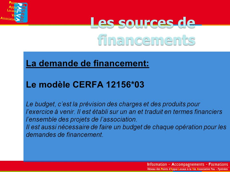La demande de financement: Le modèle CERFA 12156*03 Le budget, cest la prévision des charges et des produits pour lexercice à venir. Il est établi sur
