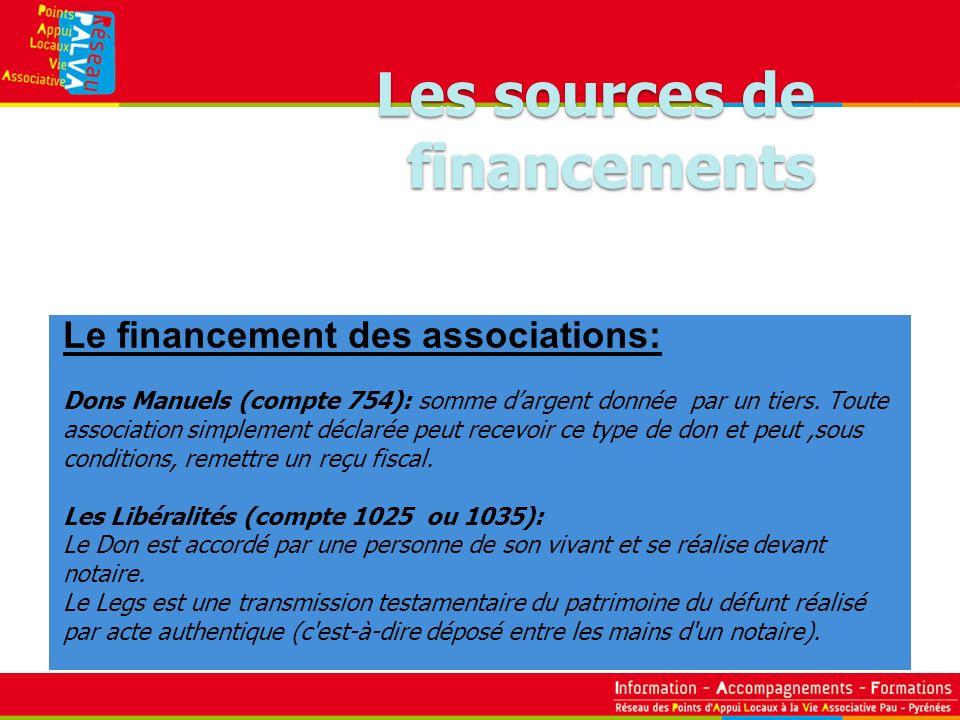 Le financement des associations: Dons Manuels (compte 754): somme dargent donnée par un tiers. Toute association simplement déclarée peut recevoir ce
