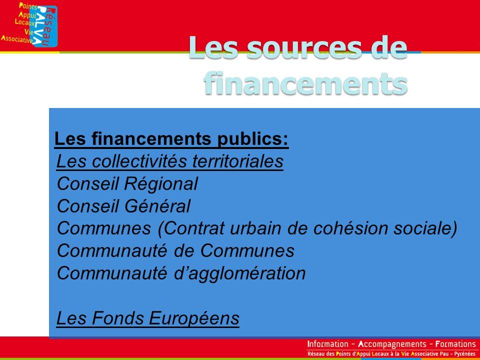 Les financements publics: Les collectivités territoriales Conseil Régional Conseil Général Communes (Contrat urbain de cohésion sociale) Communauté de