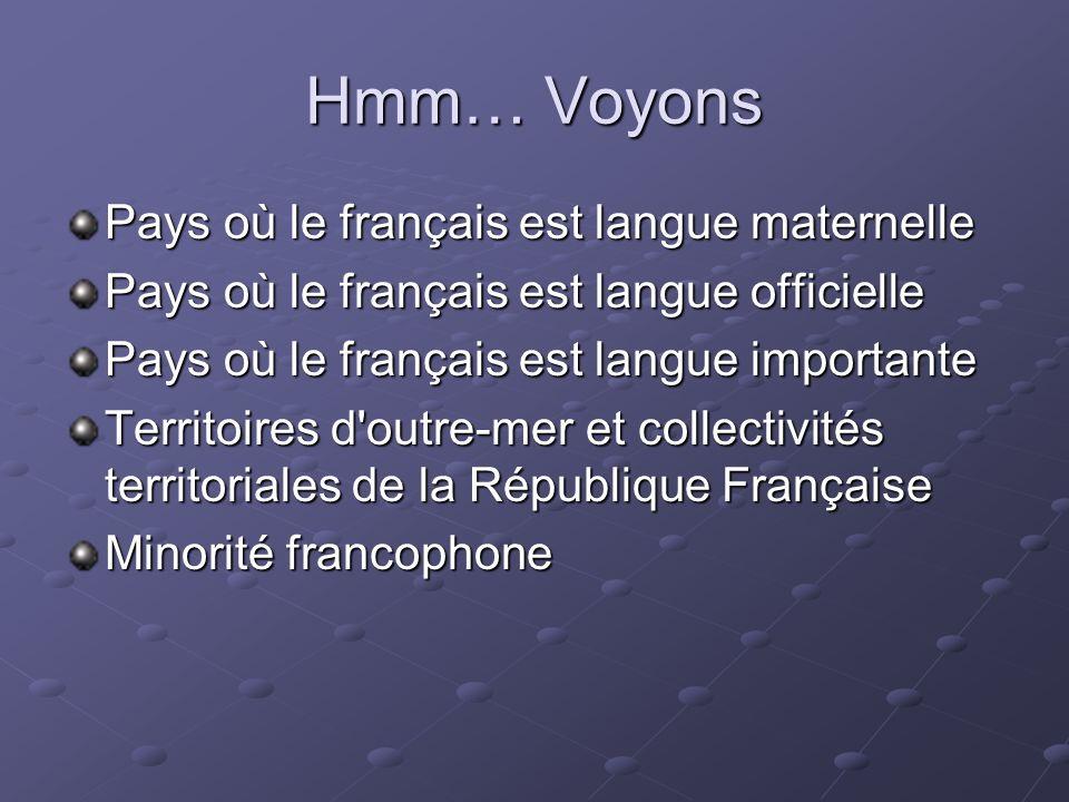 Hmm… Voyons Pays où le français est langue maternelle Pays où le français est langue officielle Pays où le français est langue importante Territoires