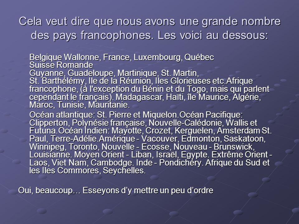 Cela veut dire que nous avons une grande nombre des pays francophones. Les voici au dessous: Belgique Wallonne, France, Luxembourg, Québec Suisse Roma