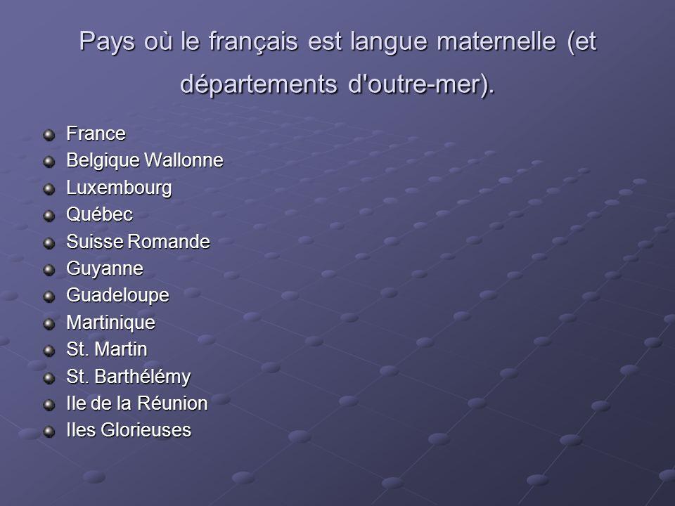 Pays où le français est langue maternelle (et départements d'outre-mer). France Belgique Wallonne LuxembourgQuébec Suisse Romande GuyanneGuadeloupeMar
