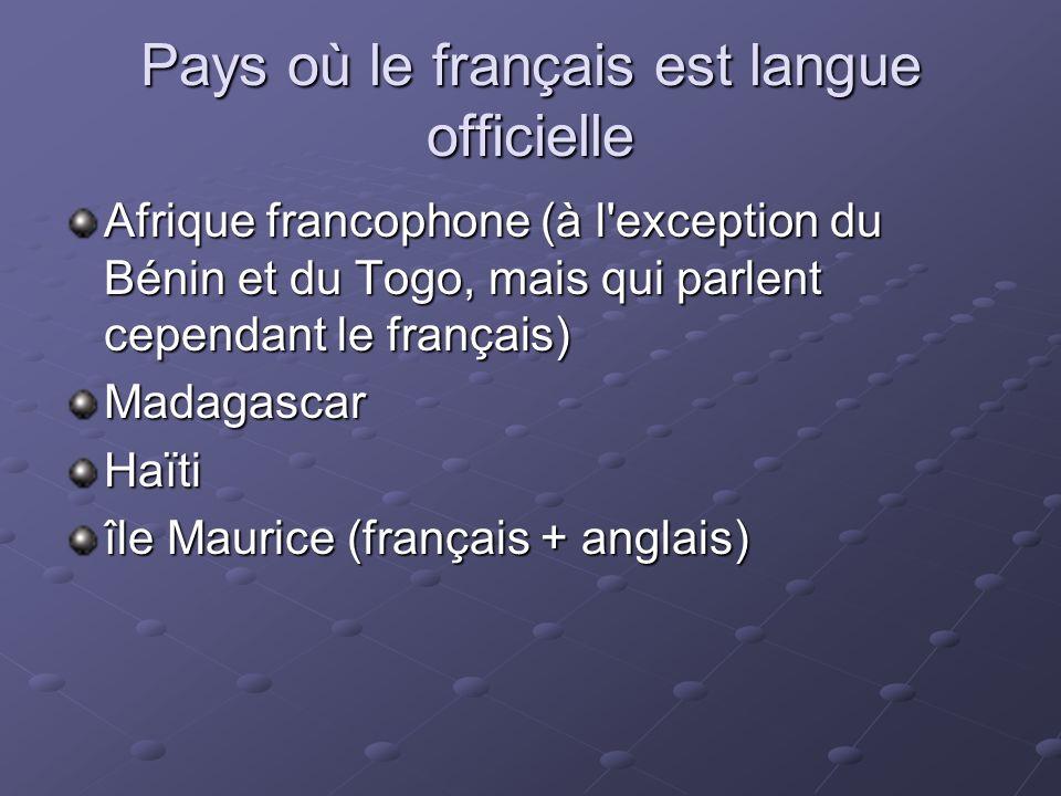 Pays où le français est langue officielle Afrique francophone (à l'exception du Bénin et du Togo, mais qui parlent cependant le français) MadagascarHa