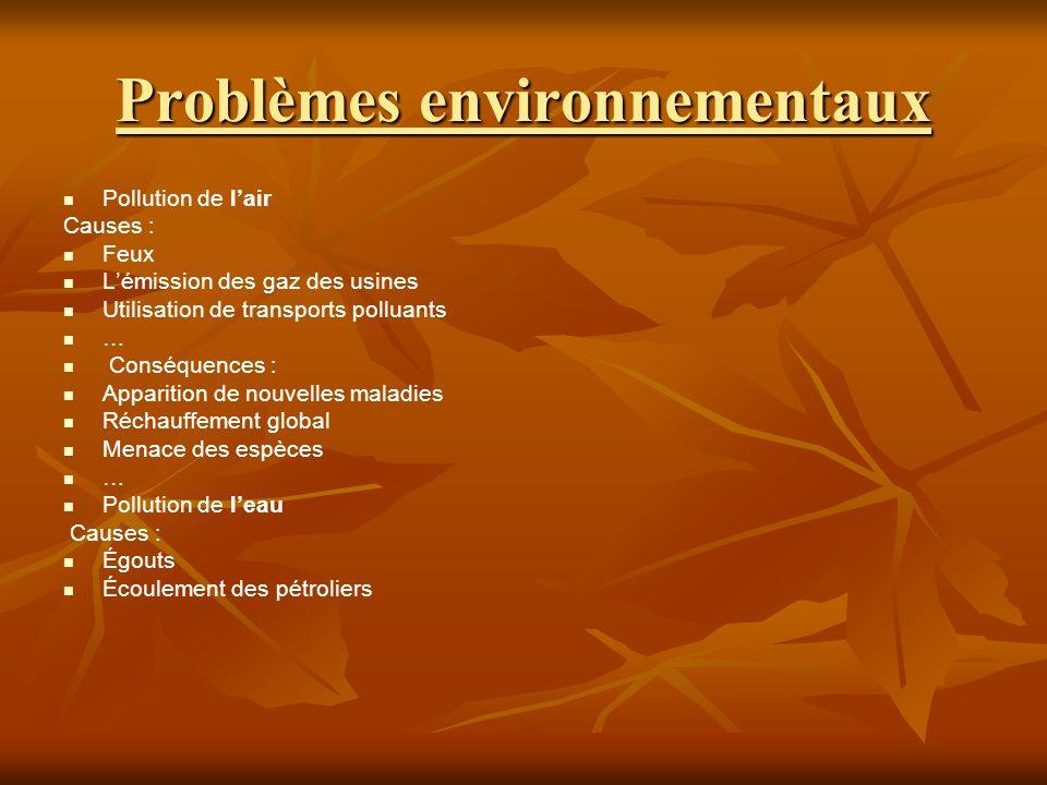 Problèmes environnementaux Pollution de lair Causes : Feux Lémission des gaz des usines Utilisation de transports polluants … Conséquences : Apparition de nouvelles maladies Réchauffement global Menace des espèces … Pollution de leau Causes : Égouts Écoulement des pétroliers
