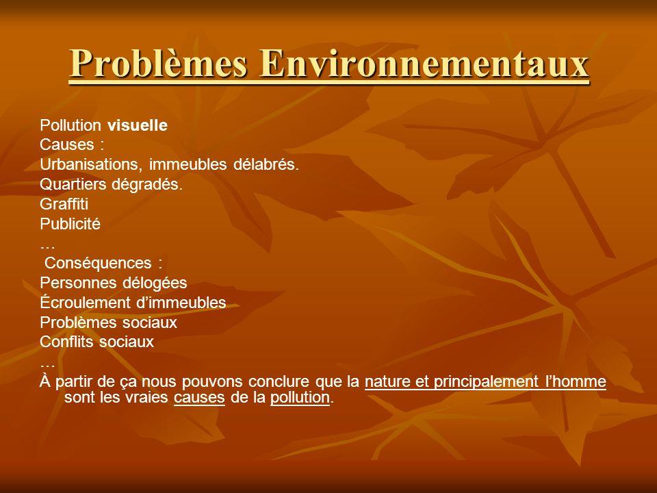 Problèmes Environnementaux Pollution visuelle Causes : Urbanisations, immeubles délabrés.