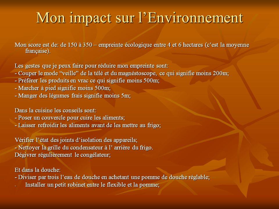 Mon impact sur lEnvironnement Mon score est de: de 150 à 350 – empreinte écologique entre 4 et 6 hectares (cest la moyenne française).