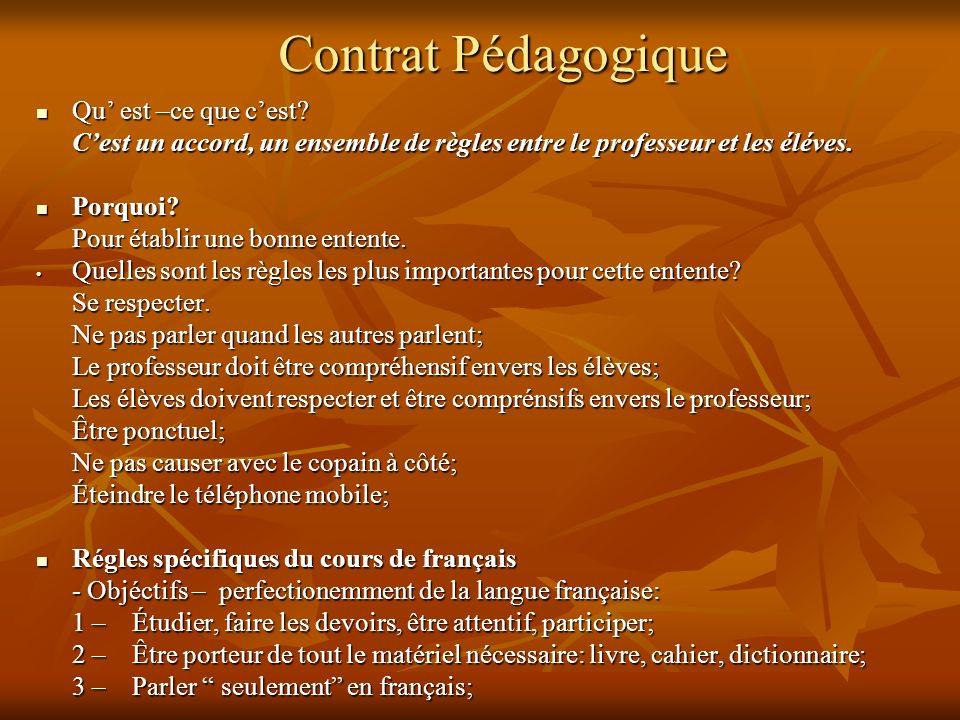 Contrat Pédagogique Qu est –ce que cest.Qu est –ce que cest.